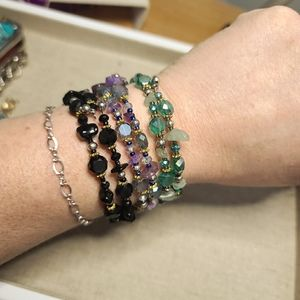 Jewelry - Gemstones & Crystal Memory Wire Stacking Bracelets